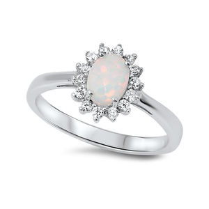 Halo Engagement Ring Oval Cut Lab White Opal CZ